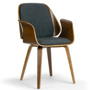 Amaya Walnut Finish Bentwood Dining Chair with Charcoal Fabric Upholstery