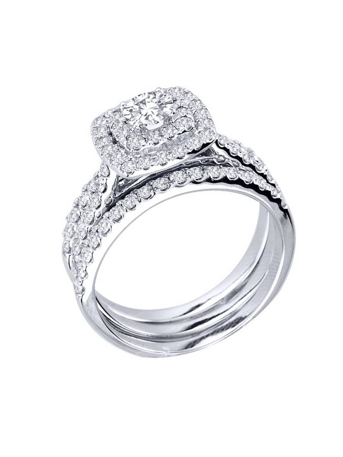 1 14ct Diamond Engagement Cushion Halo Wedding Ring Trio Set 10K