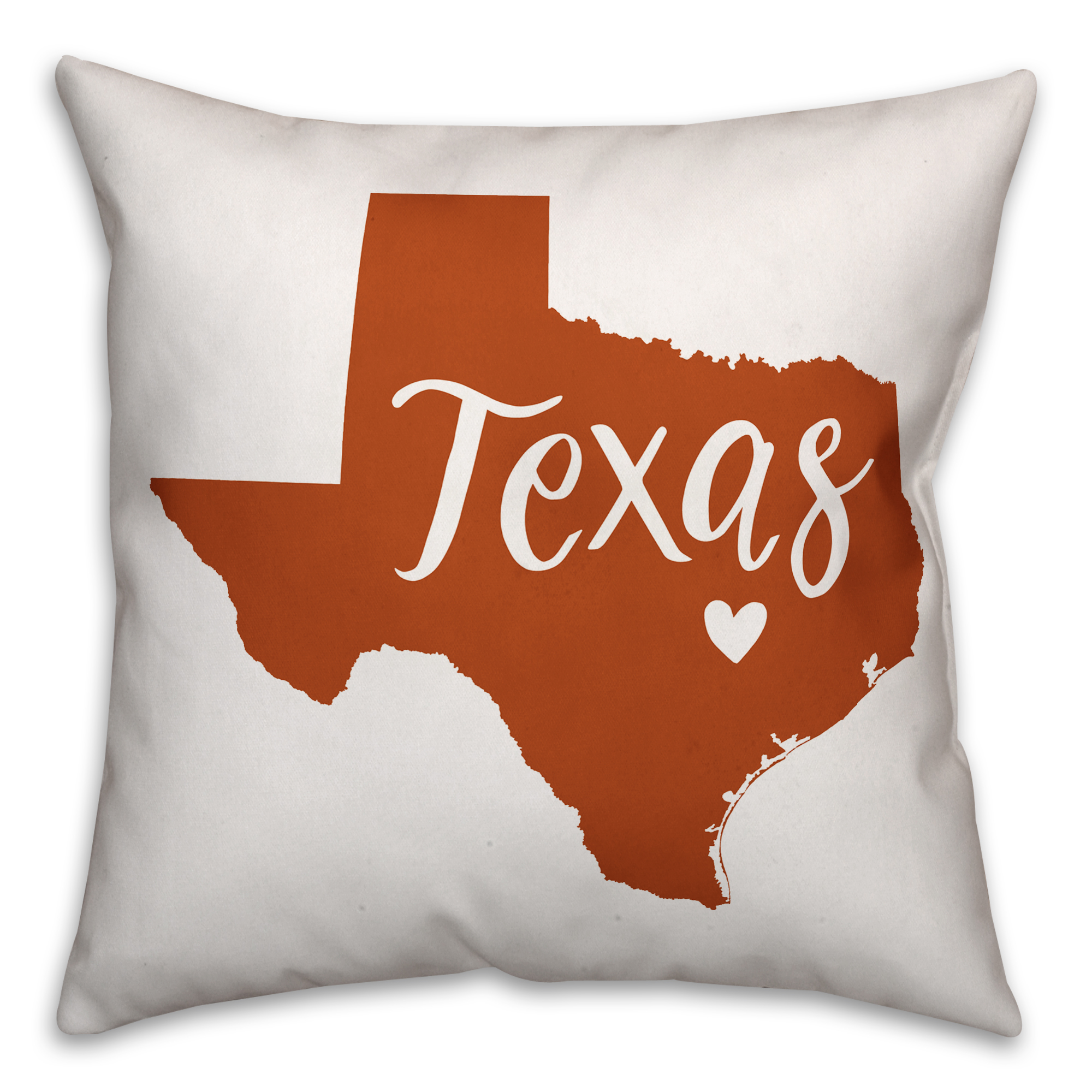 Orange and White Texas Pride 16x16 Spun Poly Pillow