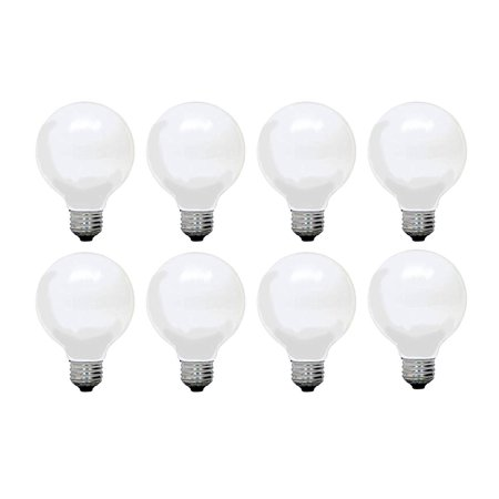 GE Soft White Decorative 60W Incandescent G25 Globe Light Bulbs w/ medium base (8 Pack)