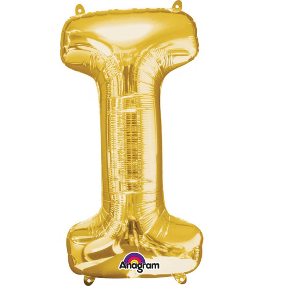 """Giant Gold Letter I Foil Balloon 32"""""""