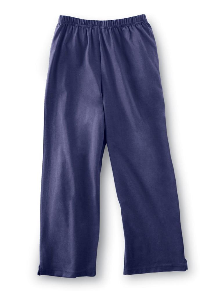 Women's Elastic Waist Comfortable Cropped Capri Pants, X-Large, Navy