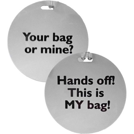 Funny Phrase Luggage Tags - White (2 Pack) Keep your possessions safe in a fun way with these funny phrased luggage tags!