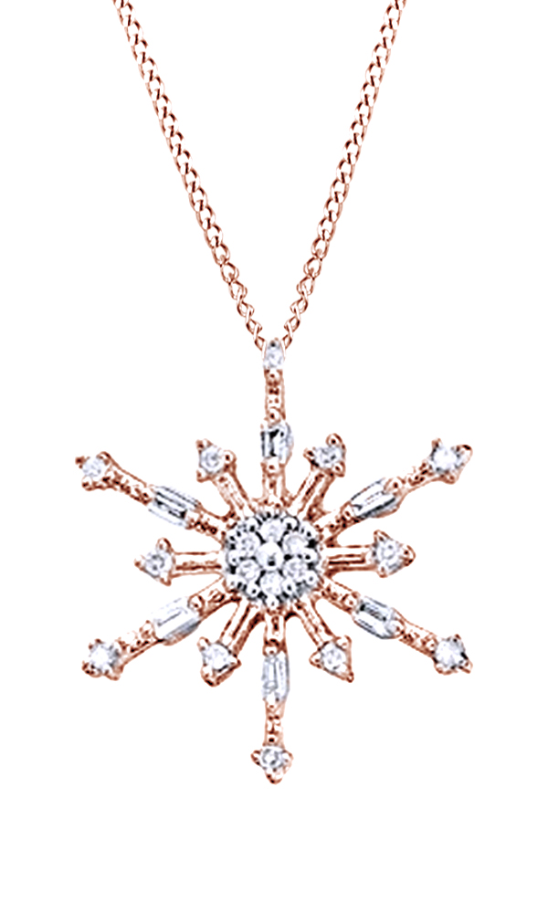 White Natural Diamond Snowflake Pendant Necklace In 10k Rose Gold (0.1 Cttw) by Jewel Zone US