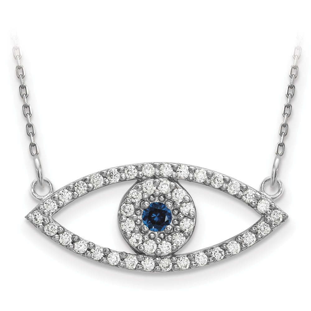 """Solid 14k White Gold Medium Diamond and Simulated Sapphire Evil Eye Necklace Chain 18"""" with Secure Lobster Lock... by AA Jewels"""