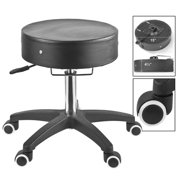 Master SpaMaster Rolling Stool with Adjustable Height, Black/Chrome