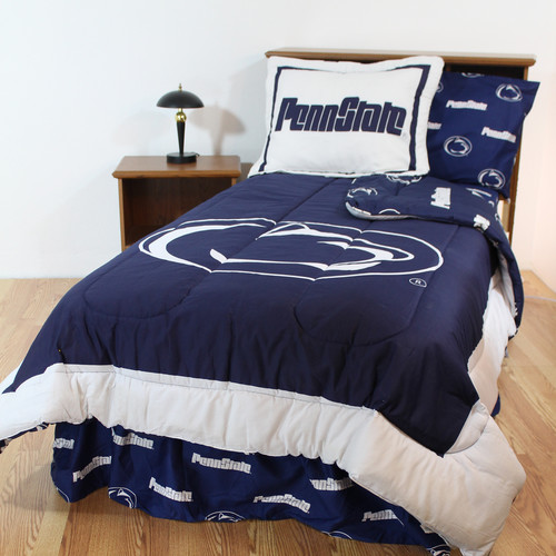 Comfy Feet PSUBBQU Penn State Bed in a Bag Queen - With Team Colored Sheets