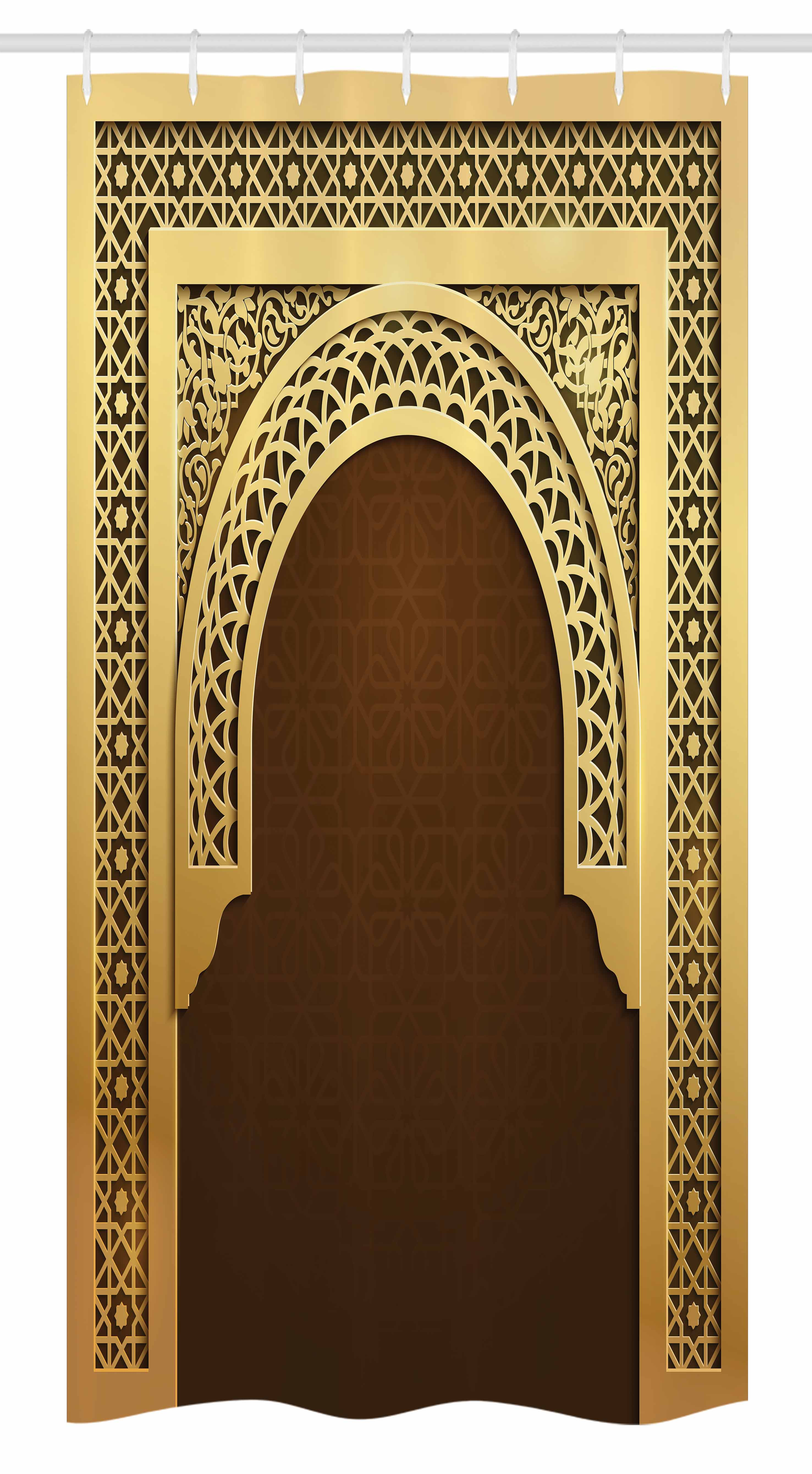 Moroccan Stall Shower Curtain, Middle Eastern Ramadan Greeting Scroll Arch... by Kozmos