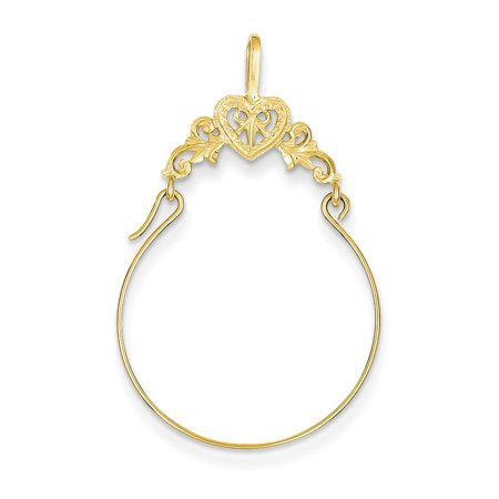 14k Yellow Gold Filigree Heart Charm Holder