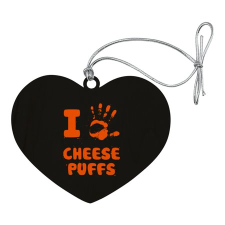 I Love Cheese Puffs Hand Print and Crumbs Funny Heart Love Wood Christmas Tree Holiday Ornament](Heart Handprint)