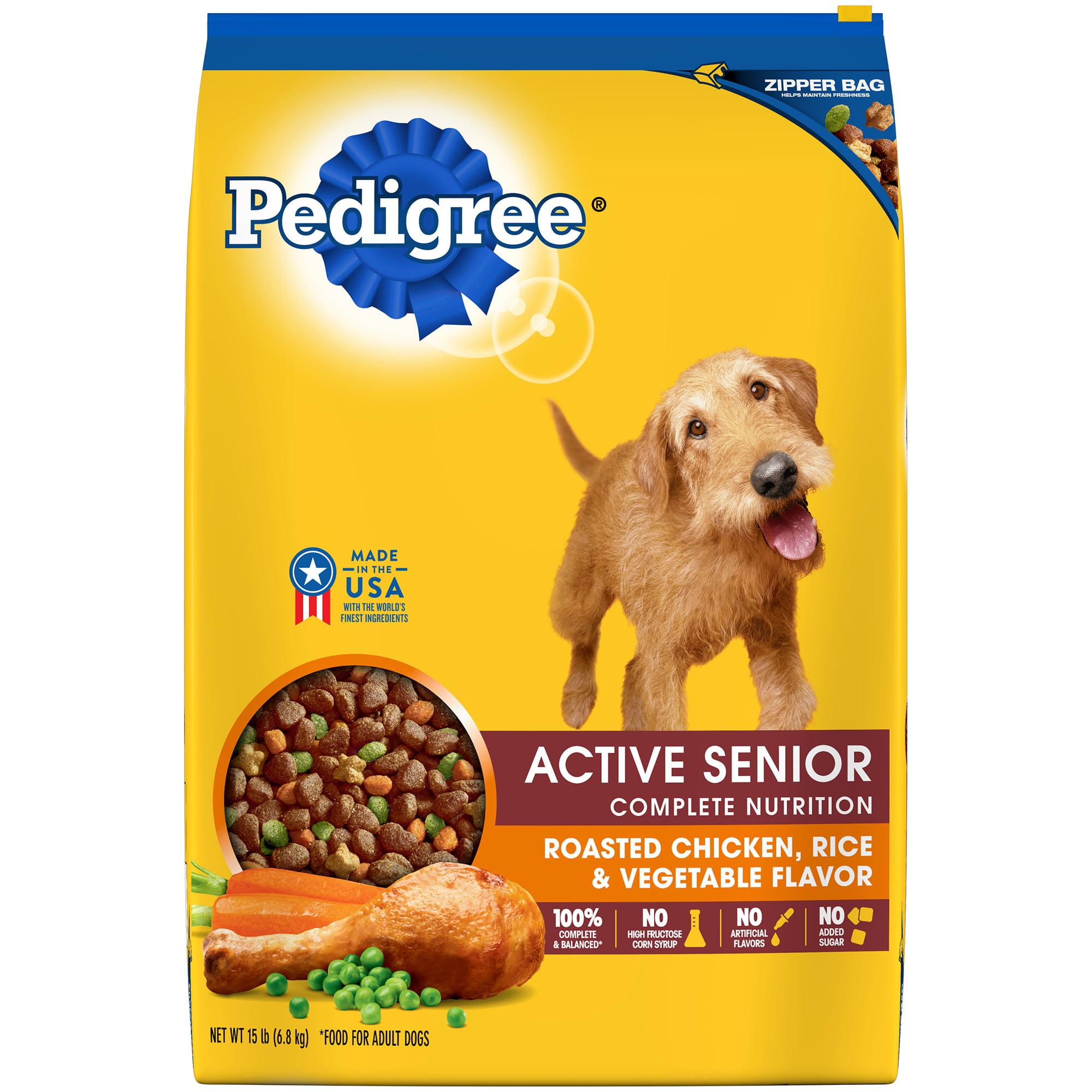 Pedigree Active Senior Roasted Chicken, Rice & Vegetable Flavor Dry Dog Food 15 Pounds