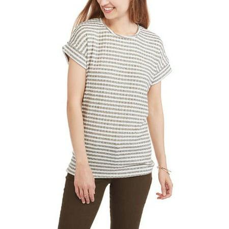 (Mia Kaye Women's Short Sleeve Scoopneck Roll Tab Striped T-Shirt)