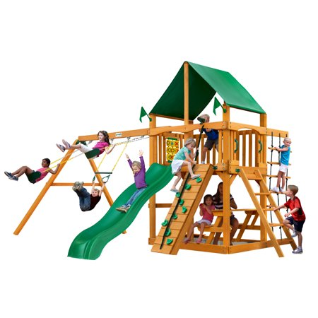 Gorilla Playsets Chateau Wooden Swing Set with Green Vinyl Canopy, Rock Climbing Wall, and Alpine Wave (Rock Playset)