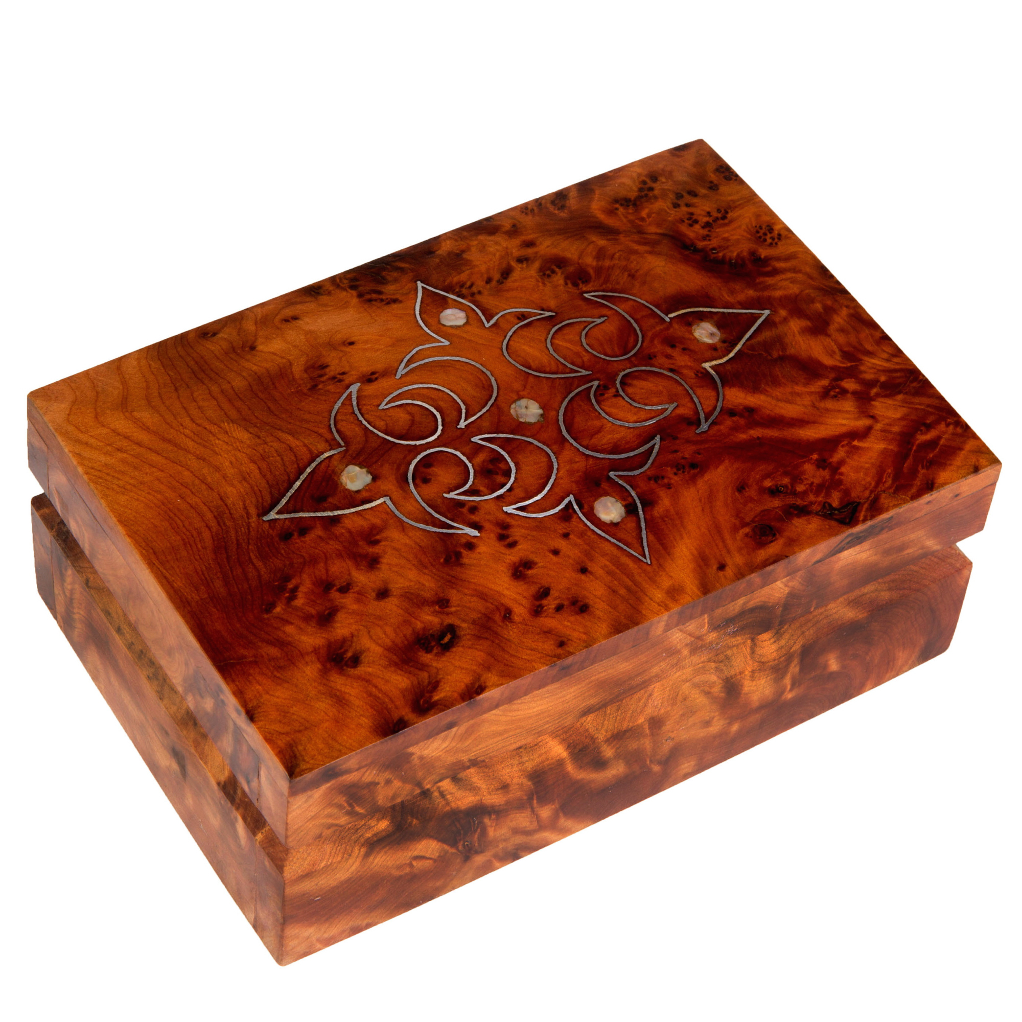 Moroccan Buzz Hand-crafted Mother of Pearl Inlaid Moroccan Thuya Wood Box (Morocco)