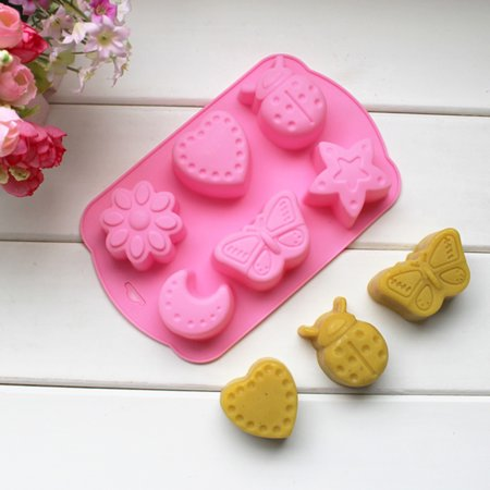 Jeobest 1PC Silicone Cake Mold - Silicone Mold for Baking - Baking Cake Mold - Silicone Cake Mold Chocolate Mold Jelly Pudding Mold 6 Holes Insects Butterfly Moon Star Shaped Ice Cube Soap Mold MZ