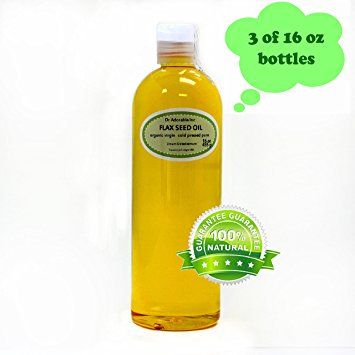 Dr. Adorable - 100% Pure Flax Seed Oil Organic Cold Pressed Unrefined Natural Hair Skin - 48 oz