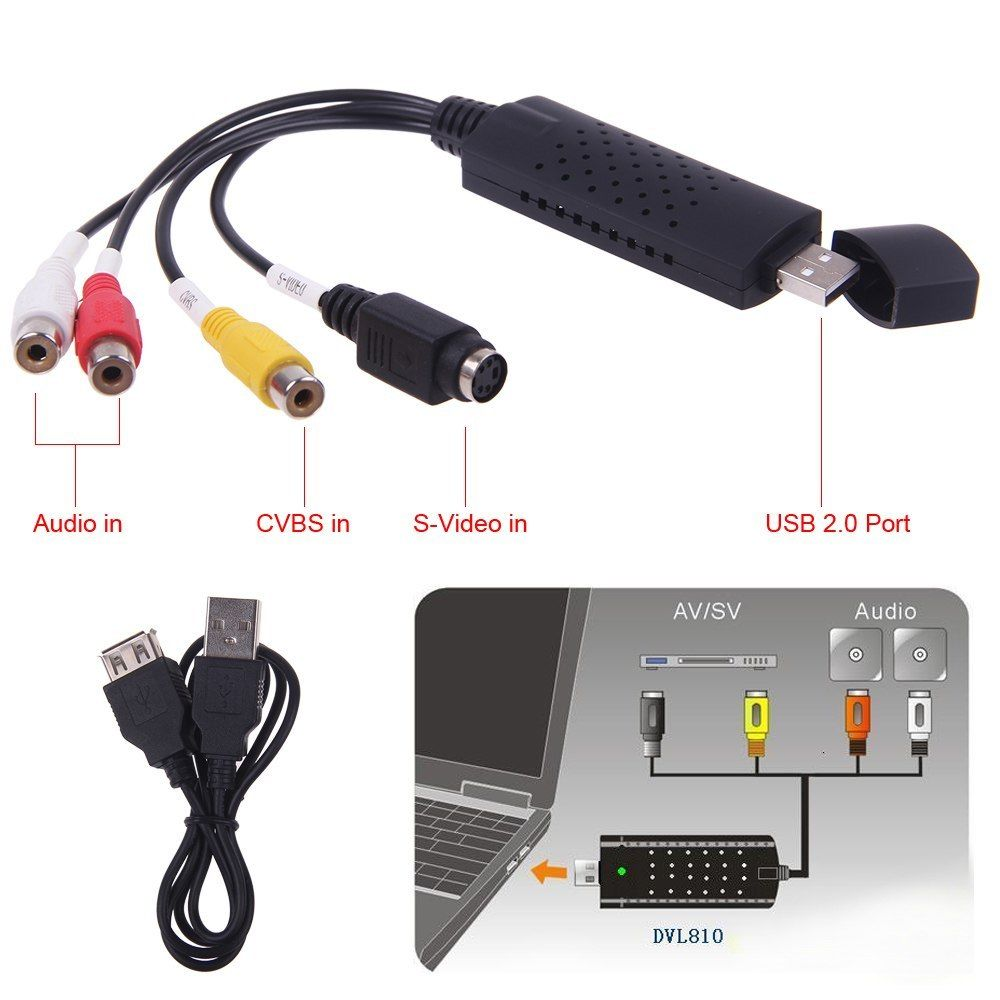 USB 2.0 Video Capture Card Converter PC Adapter TV Audio DVD DVR VHS For Window 2000 For XP For Vista For Win 7 On Sale