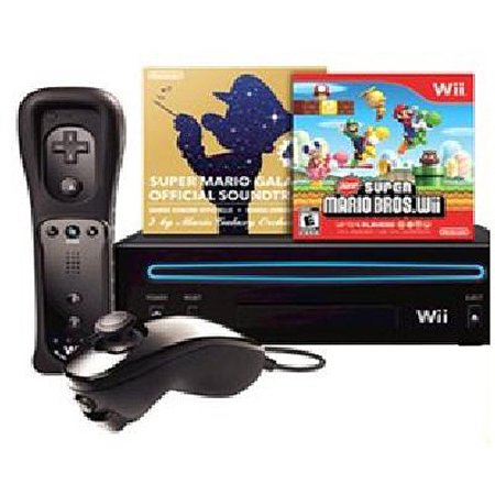 Nintendo Black Wii w/ New Super Mario Brother's and Music CD