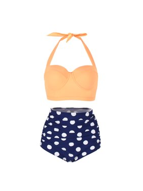 FeelinGirl Women Vintage Polka Dot High Waisted Bathing Suits Bikini Set