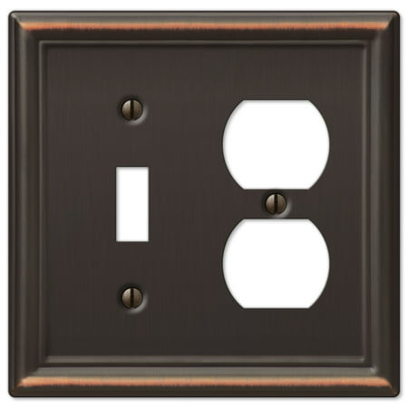 AmerTac 149TDDB Chelsea Steel Single Toggle/Single Duplex Wallplate, Aged Bronze
