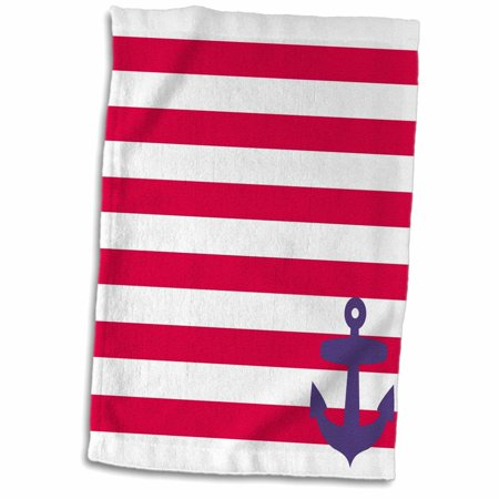 3dRose Retro Nautical Navy Blue Anchor in Corner with Red sailor stripe pattern - French Breton stripes - Towel, 15 by 22-inch
