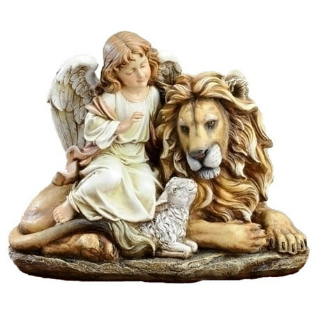 Joseph Studio Lion Lamb and Angel Sitting Together Statue Figurine