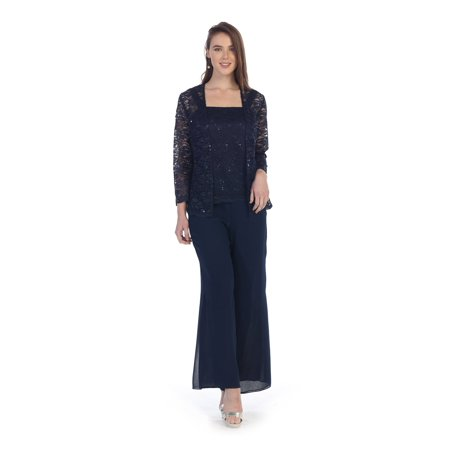 73adb42746c SA - Formal Mother of the Bride Pant Suit with Jacket - Walmart.com