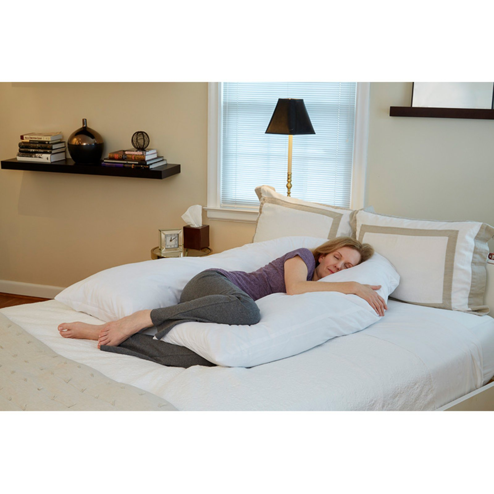 "Hermell Total U-Shaped Body Pillow with White Cover, Offers Relief for Neck and Back Pain, Supportive Pillow, Ideal During Pregnancy, Cover is Removable and Machine Washable, 51"" x 43"" x 6""- BP7300MO"