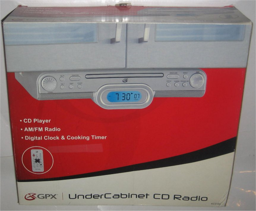GPX Undercabinet CD Radio w  Digital Clock & Cooking Timer by GPX