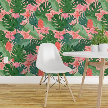 Removable Water Activated Wallpaper Tropical Leaves And Flowers Fable