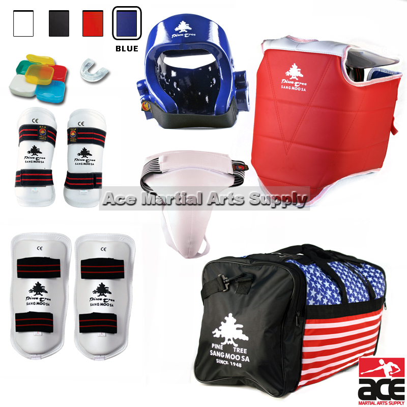 Pine Tree Complete Vinyl Martial Arts Sparring Gear Set with Bag, Shin, & Groin, Small White Headgear, Child Small Other Gears Male