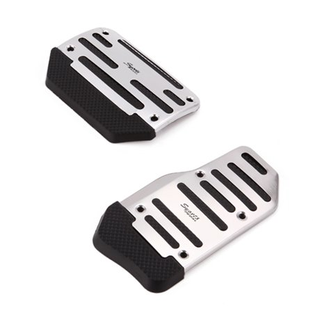 HDE 2 Piece Non Slip Pedal Kit Gas Brake Cover Pads for Automatic Transmission Vehicles (Chrome and Black)