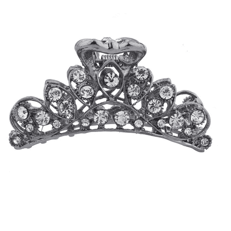 Filigree Clip (Lux Accessories Hematite Crystal Rhinestone Bling Filigree Metal Hair Claw)