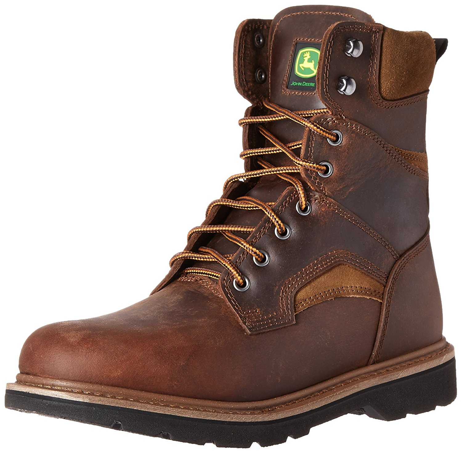 John Deere Men's 8'' Farm Lace Up Work Boots Brown Leather 8 W by John Deere