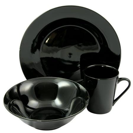 Gibson Home Carlton 12 Piece Fine Ceramic Dinnerware Set in Black
