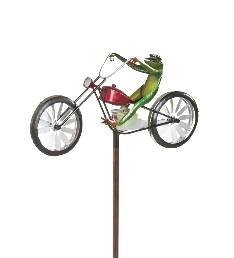 Frog Riding Motorcycle Metal Wind Spinner for Gardens by Problem Solvers