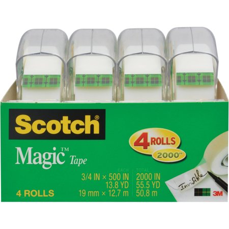 Scotch Magic Tape, 3/4 in. x 500 in, 4 Dispensers/Pack