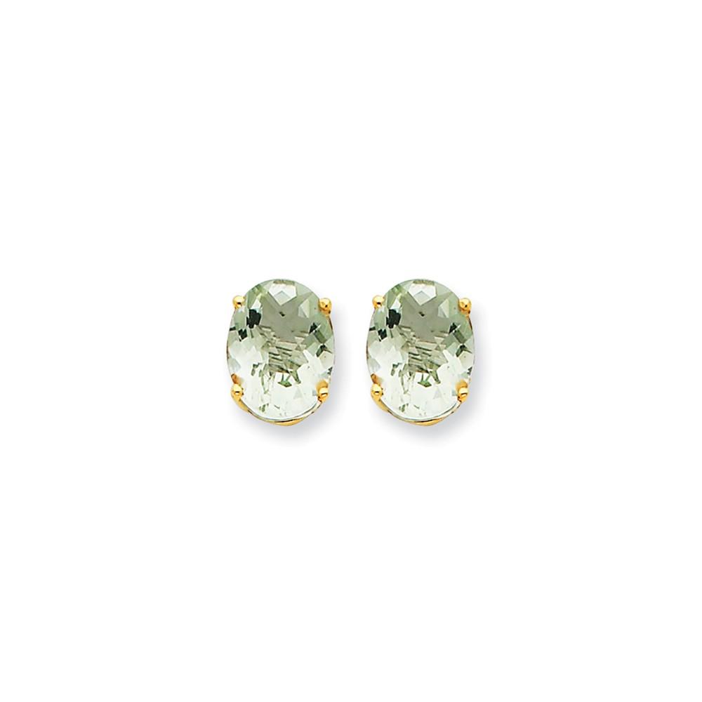 14k Yellow Gold 9x7 Oval Green Amethyst Earrings. Gem Wt- 2.9ct (9MM Long x 7MM Wide)