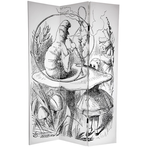Oriental Furniture 72'' x 48'' Double Sided Alice in Wonderland 3 Panel Room Divider