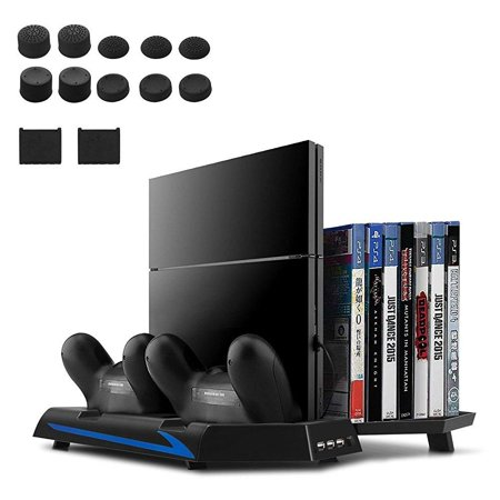 Upgraded Version Younik Ps4 Vertical Stand Cooling Fan Dual Controllers Charging Station