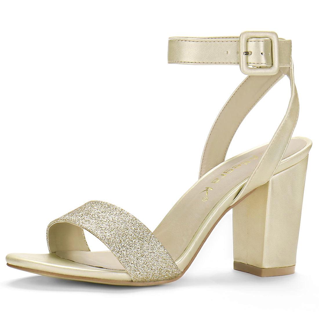 97010e576e9 0142H Woman Glitter Vamp Chunky Heel Ankle Strap Sandals Gold ...