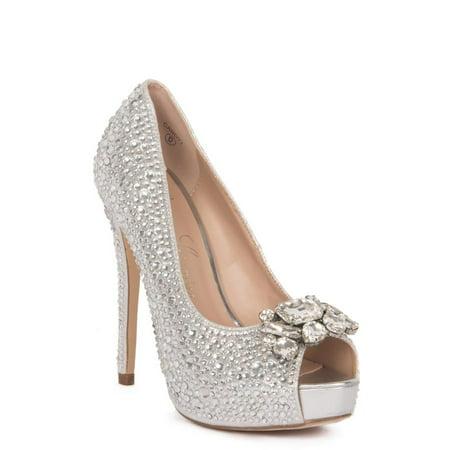 Lauren Lorraine Candy 2 Silver Broach Shimmer Rhinestones Peep Toe Platform Pump (9.5)