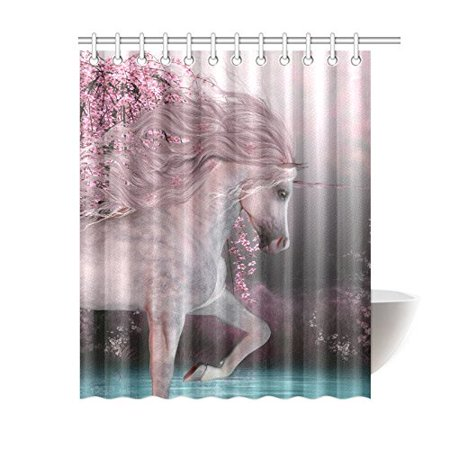 GCKG Cherry Blossom Shower Curtain, Fantasy Unicorn Polyester Fabric Shower Curtain Bathroom Sets 60x72 Inches - image 3 of 3