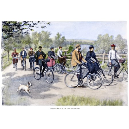 Bicycle Tourists 1896 Na Group Of Bicycle Tourists Enjoying A Ride Through The Countryside Illustration By Arthur Burdett Frost 1896 Rolled Canvas Art     24 X 36