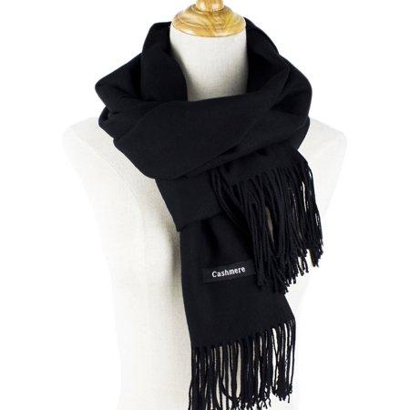 Cashmere - Women's Fall Winter Scarf Classic Plain Solid Color Rectangle Cashmere Shawl Wrap Cape tassel(Black)