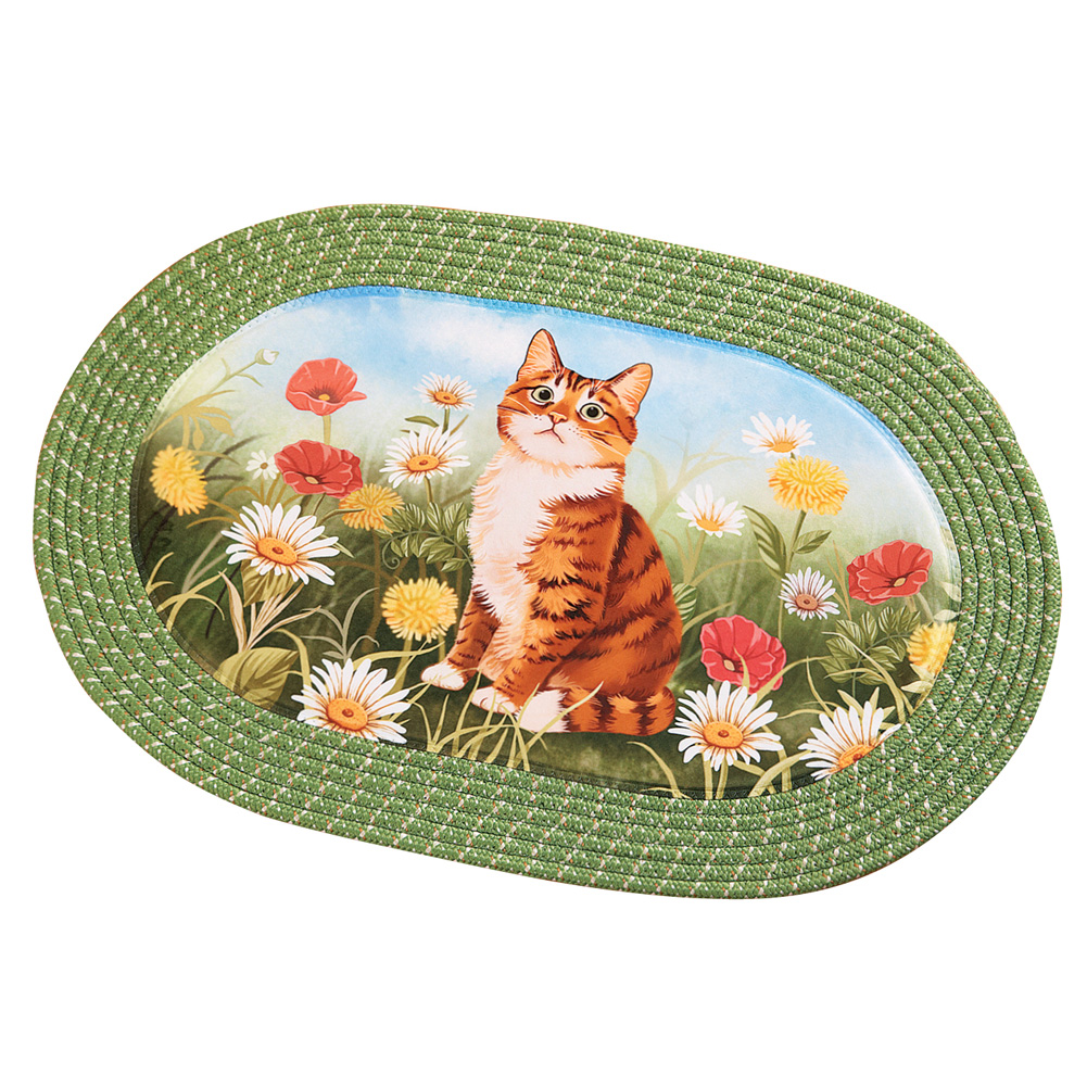 Cat in Daisy Flower Garden Decorative Oval Braided Accent Rug