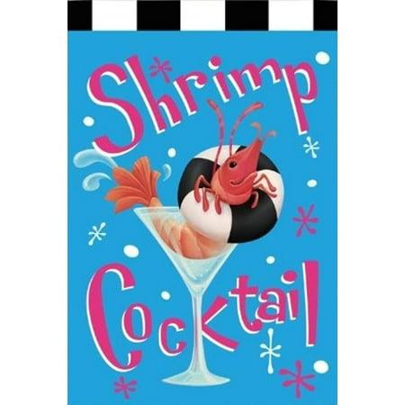 Shrimp Cocktail Summer Party Drinks Decorative House Flag by Evergreen Shrimp Cocktail Server