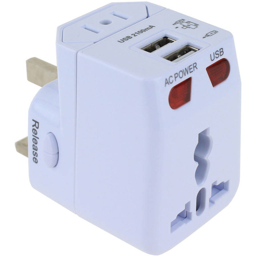 Universal Travel Power Adapter With Dual Usb Charging Ports Wall Outlet Plugged Wiring Devices Home Office Ac Device International Worldwide Plug Charger Type A G F I For Us Uk