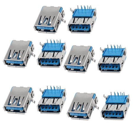 Unique Bargains 10pcs PCB Mounted Right Angle DIP Female USB 3.0 A Jack - Pub Jack