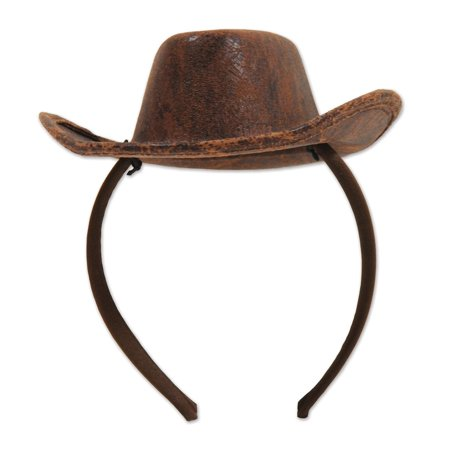 183cd2cc592 Pack of 12 Distressed Brown Faux Leather Western Cowboy Party Hats -  Walmart.com